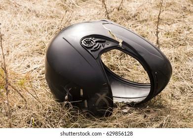 Motorcycle accident helmet split in the head area