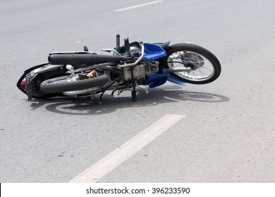 Motorcycle accident on the road