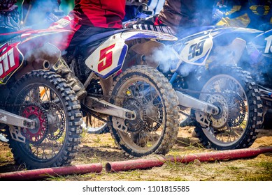 Motorcycle active speed at start point in Motocross racing  at Chonburi ,Thailand