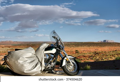 Motorcycle awaiting for its rider in the desert, Arizona, USA