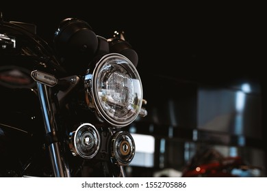 motorcycle bigbike on showroom with soft-focus and over light in the background