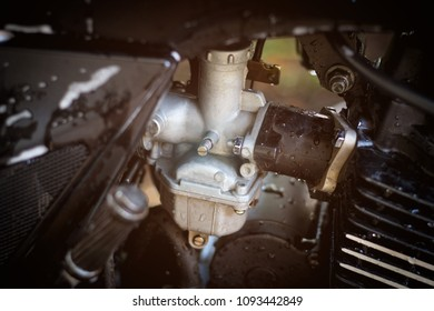 Motorcycle carburetor and machine background, Automotive background, engine maintenance background.