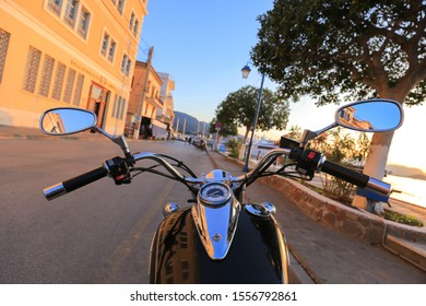 Motorcycle chopper on the street