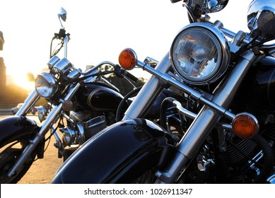 Motorcycle in the city. Motorcycle in the parking lot. Men's Accessories. Male life style