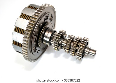 Motorcycle clutch gears isolated on white background.