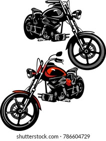 motorcycle color line silhouette