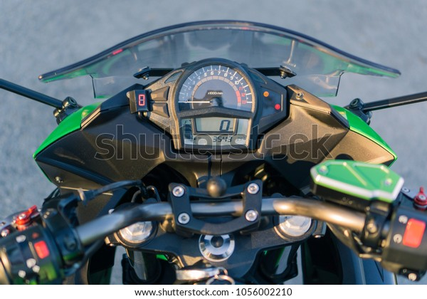 Motorcycle Dashboard Windshield Gear Indicator Rpm Stock Photo (Edit