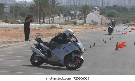 Motorcycle drivers take advanced course after getting their driving license, Rashlatz, Israel, September 18th, 2017.