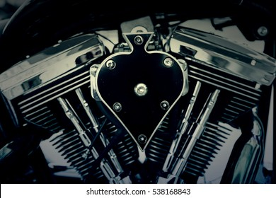 Motorcycle engine, detail of an engine in a high-powered motorcycle, vehicle transport