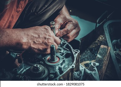 Motorcycle engines awaiting maintenance and engine repair.