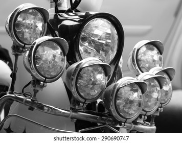 Motorcycle front details - headlights process in black and white style