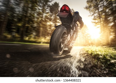 Motorcycle at full speed