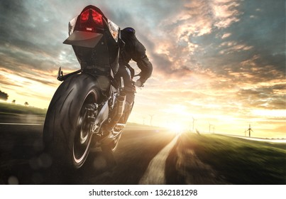 Motorcycle at full speed on a country road