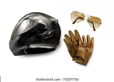 Motorcycle Helmet, leather gloves, sunglasses on white background. Motorcycle Gear - Biker Stuff