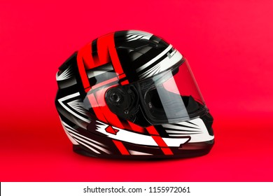motorcycle helmet on the red background