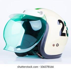 motorcycle helmet over white background