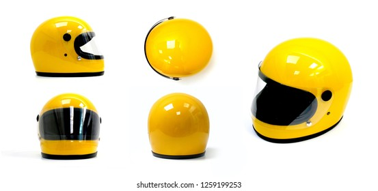 Motorcycle helmets as a full yellow on a white background. The front, top, back, side.
