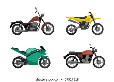 Motorcycle icons set in flat style. Simple illustrations of different type motorcycles. Raster version.