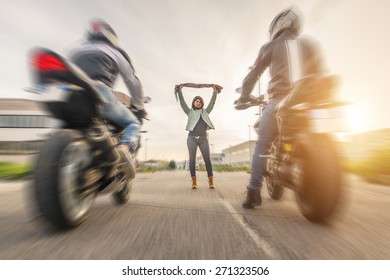 motorcycle illegal race on the street. concept about transportation, challenge, and people