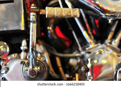Motorcycle kick starter for background and texture.