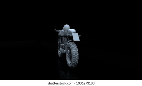 motorcycle model body structure, white model with Reflect 3d rendering