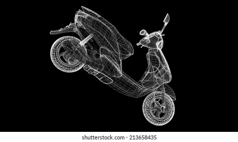 Motorcycle on a background,  model,  body structure , wire model