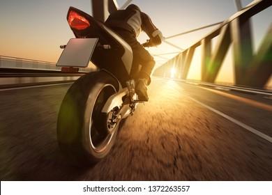 Motorcycle on a Bridge