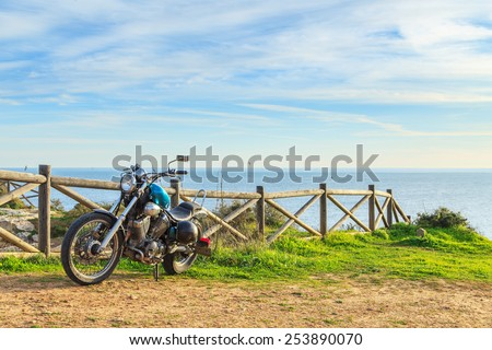Motorcycle on the cliff