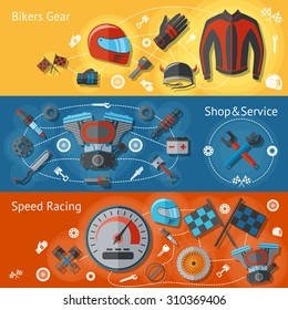 Motorcycle parts flat banners set with bikers gear shop service speed racing isolated  illustration