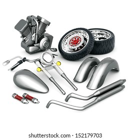 motorcycle parts on an isolated white background