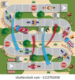 Motorcycle Racing. Board game. View from above. Raster version.