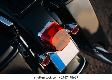 Motorcycle rear taillight lamp close up