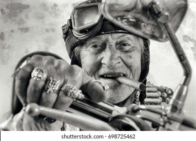 motorcycle rider old crazy face grandmother  - easy living gangster style - old lady with a Cuban cigar - street motorbike gang - Funny granny ridding a Chopper bike