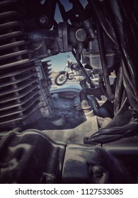 Motorcycle seen through an engine