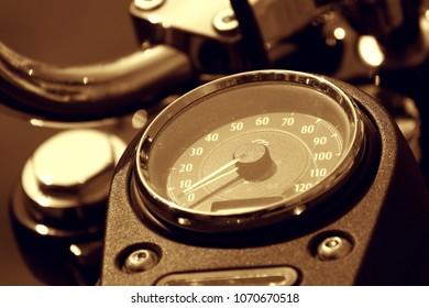 Motorcycle Speedometer Closeup