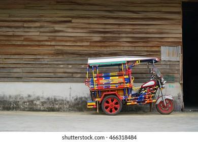 "motorcycle three-wheeler ""Tuk-Tuk"" thailand."