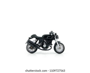 Motorcycle toy gray colour on white background