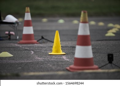 Motorcycle training school Motorcycle education school training Gymkhana. Road cone - Shutterstock ID 1564698244