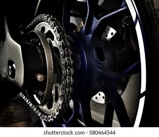 Motorcycle Tyre Big bike - Closeup Rear wheel of Bigbike motorcycle at the city street