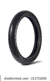 Motorcycle tyre on white background.