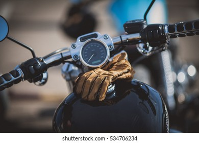 Motorcycle vintage gloves close-up