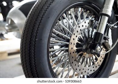Motorcycle wheel details with brake and wheel spoke
