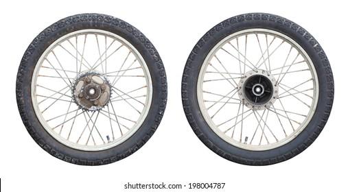 motorcycle Wheels isolated on white background