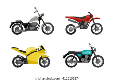 Motorcycles in flat style. Illustrations of different type motorcycles. Raster version.