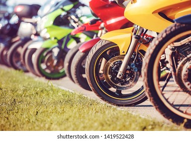 Motorcycles parade. Bikes in a row