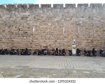 Motorcycles are parked near the wailing wall in Jerusalem. December 2018