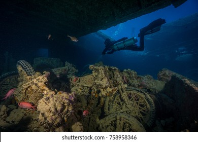 Motorcycles in the Thistlegorm wreck cargo hold. Northern Red Sea.