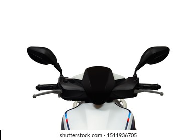 Motorcycles, view in front of motorcycles,isolated on white background.