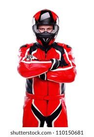 Motorcyclist biker in red equipment on white background