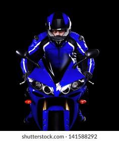 Motorcyclist in dark blue equipment and helmet on black background